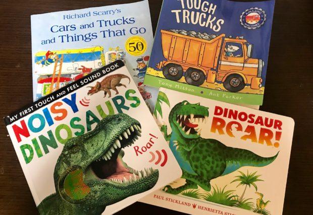 【男の子が好きそう!】恐竜や乗りものがいっぱい英語絵本