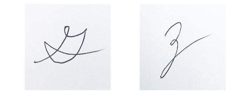 筆記体で書いた字
