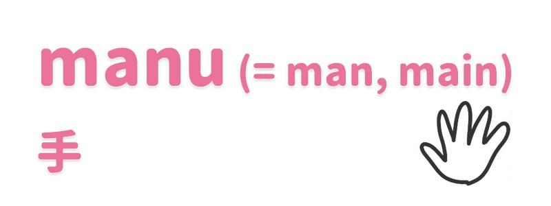 【manu(=man, main)】手